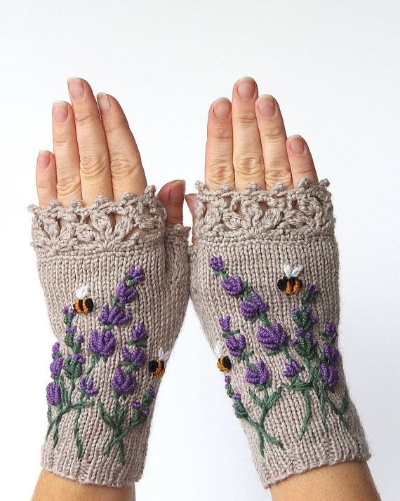 Photo of Beige Gloves With Lavender, Knitted Fingerless Gloves, Embroidery, Lavender, Bees, Beige Mittens, Clothing and Accessories, Gloves & Mittens