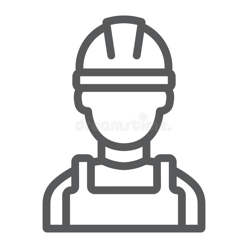 Builder Line Icon Engineer And Man Construction Worker Sign Vector Graphics Aff Man Construction Line Icon Typography Poster Design Linear Pattern