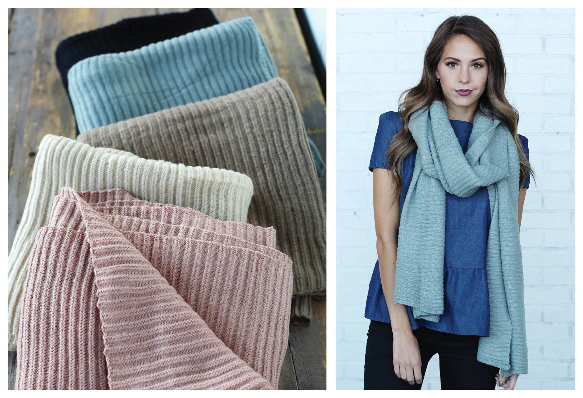 Cozy & Soft Long Pleated Scarves in Black, Ivory, Mint pink & Taupe!