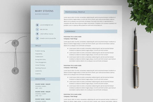 Resume / CV Template 4 Pages Cv template, Resume cv and Template