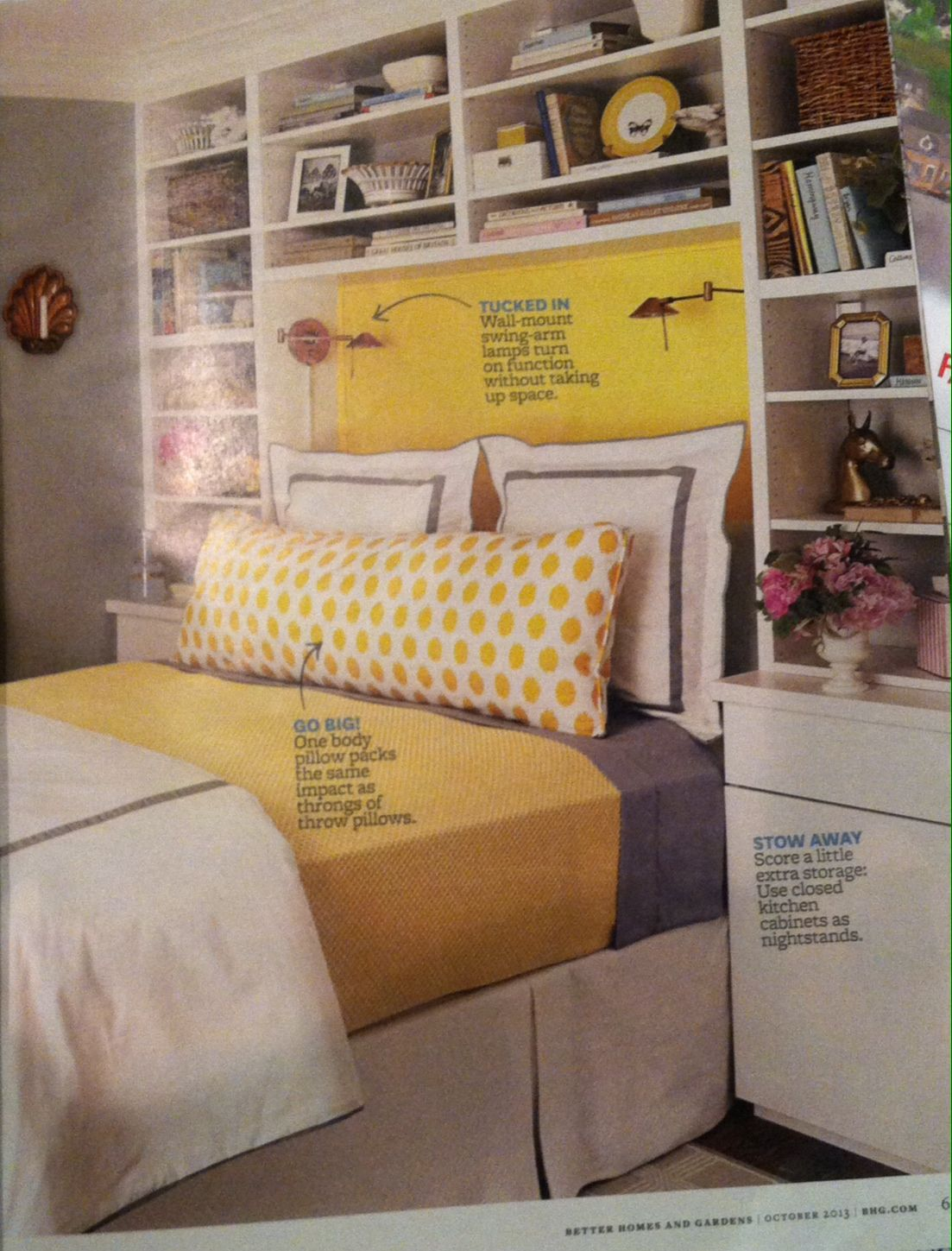 Headboard with storage... would be adorable for the guest