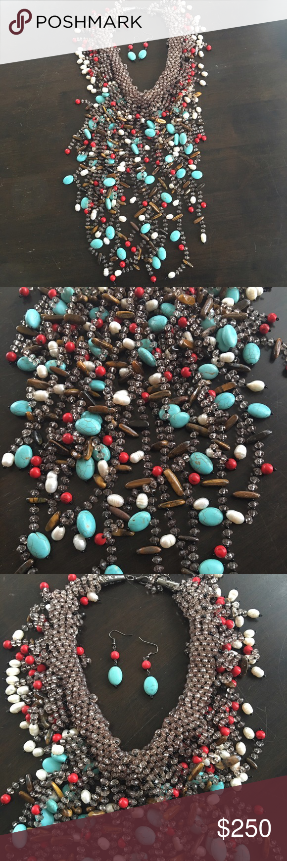 Absolutely Gorgeous Necklace with Earrings I hate to part with this stunning piece but I just don't wear it.  Gorgeous statement necklace with matching earrings.  Worn twice, it is in perfect condition, no missing beads.  Highest of quality! Jewelry Necklaces