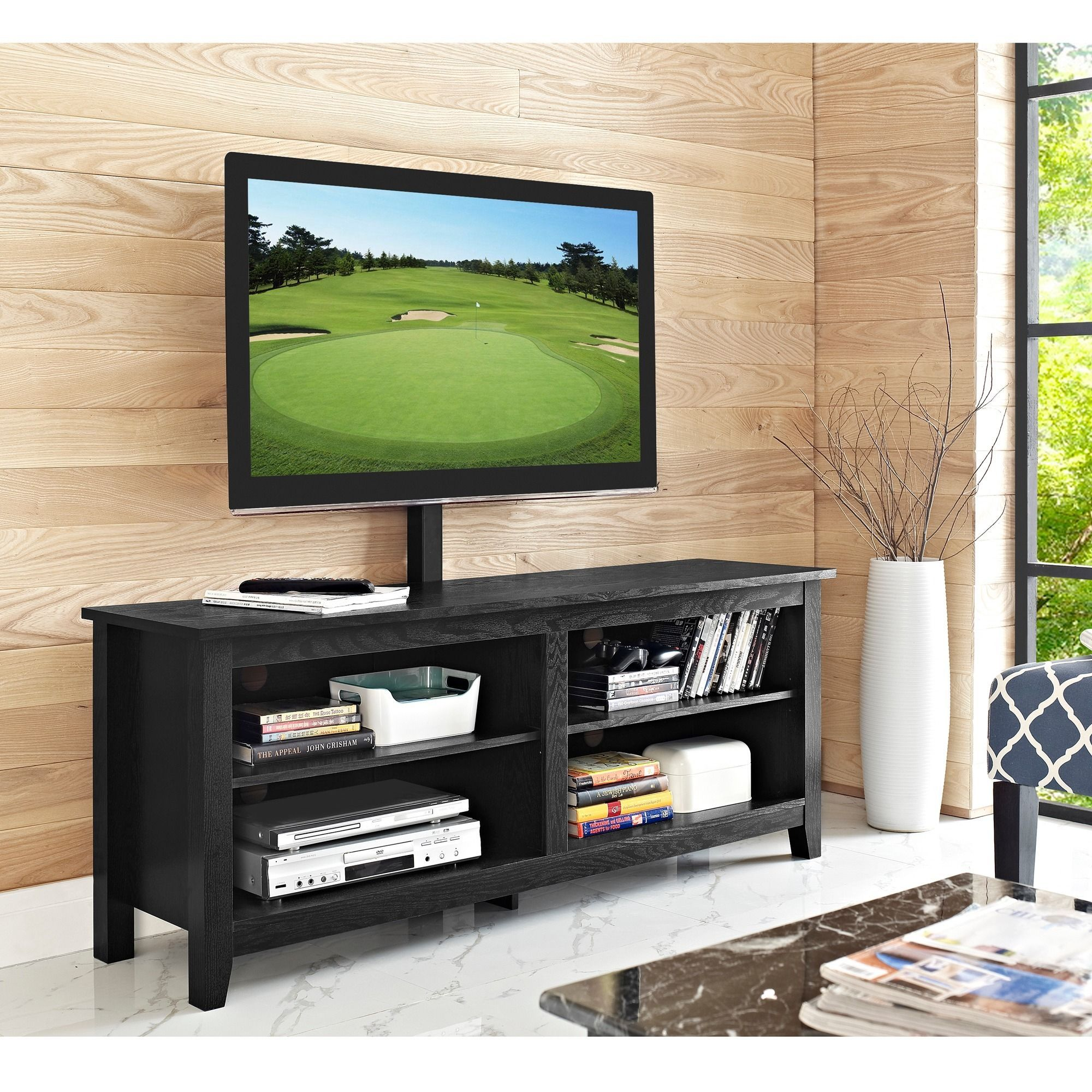 58 Inch Black Wood TV Stand With Removable Mount (58 Black Wood TV Stand