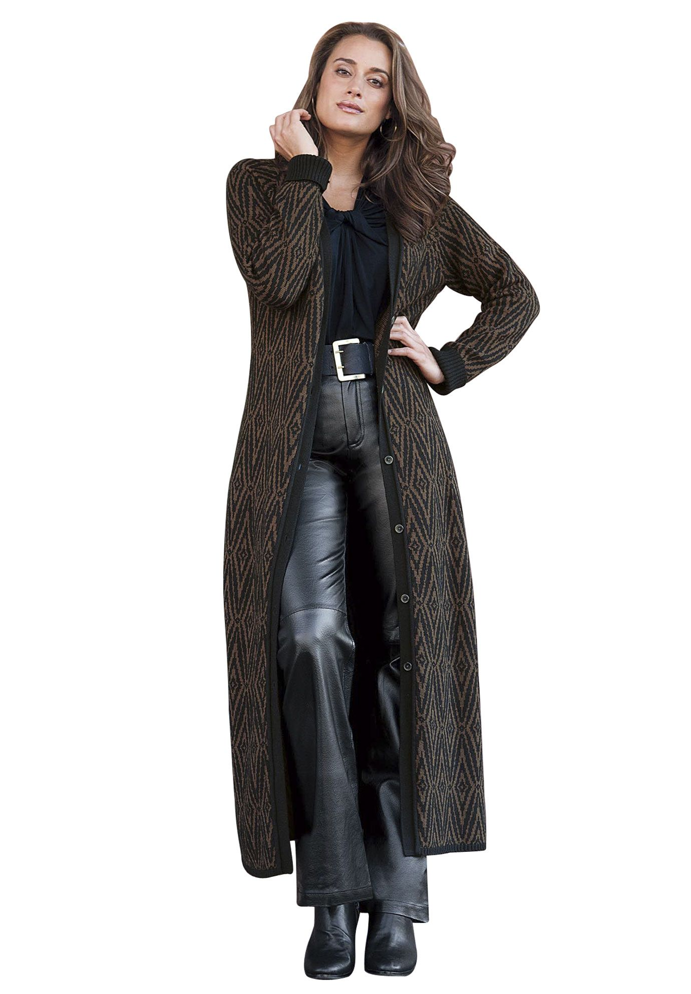Jessica London Jacquard Duster | Long cardigan sweater, Dusters ...
