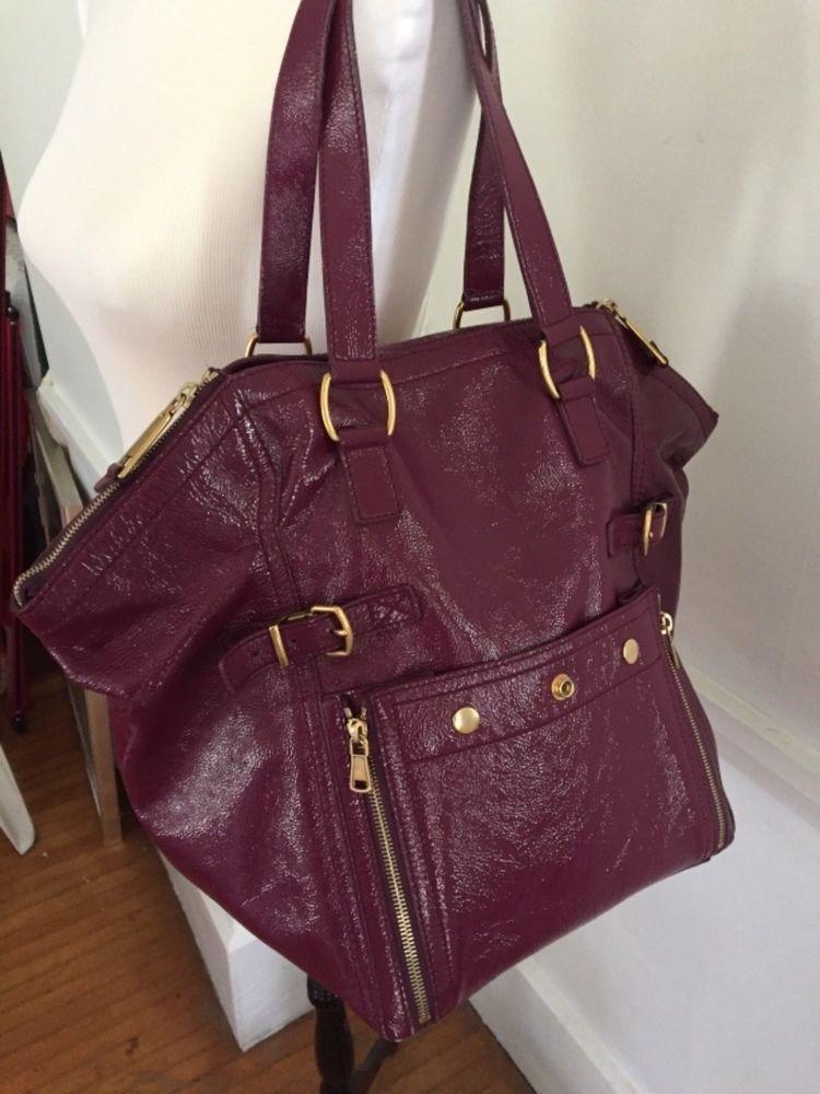 YSL SAINT LAURENT DOWNTOWN Redish Purple Patent Leather Bag RARE Excellent  PO  purses  fashion 0427ed8cba