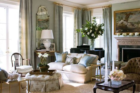 Soft blues and creams crates a serene mood in this elegant living room   Traditional  HomeSoft blues and creams crates a serene mood in this elegant living  . Traditional Home Living Rooms. Home Design Ideas