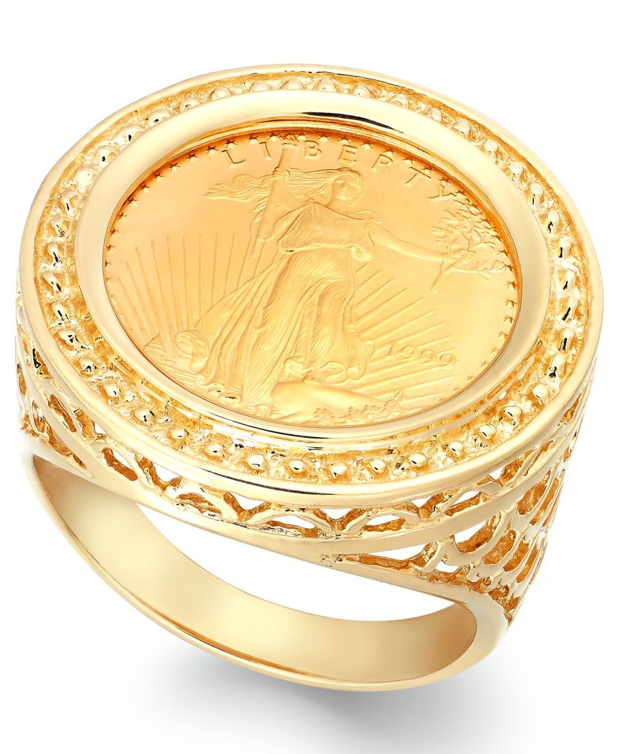 Macy S Genuine Us Eagle Coin Ring In 22k And 14k Gold Reviews Rings Jewelry Watches Macy S Coin Jewelry Gold Coin Ring Coin Ring