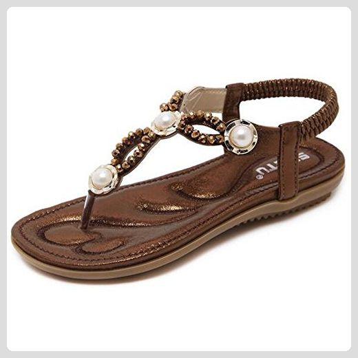 SUNAVY Damen Bling Flach Sandale mit Strass und Pearl Peep-Toe Sommer Strand Schuhe Flip-Flops Zehentrenner,Braun (EU34 - EU41)