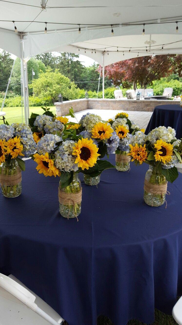Sunflower And Hydrangea In Mason Jars Sunflower Centerpieces Sunflower Wedding Floral Arrangements Wedding