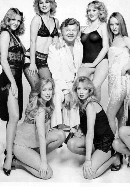 Benny Hill surrounded by girls 80s