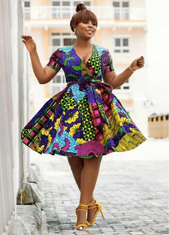 Imprimé africain Wrap Flare robe - robe - Ankara-Ankara Print - robe africaine Afrique - fait main - vêtements - mode africaine #afrikanischekleider