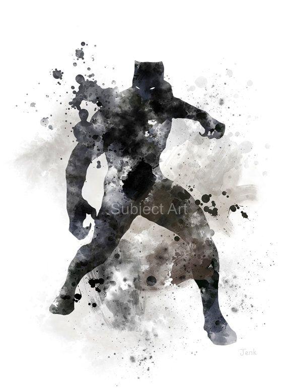 Ilustracion De La Pantera Negra Arte Estampado Superheroe