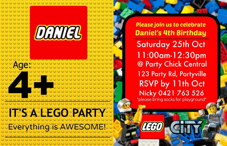 Lego City Blocks Party Invite Invitation - CUSTOM MADE - Digital ...