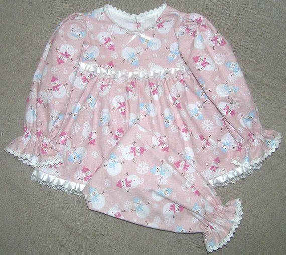Girls flannel Christmas pajamas , kids Christmas pjs , pink snowmen