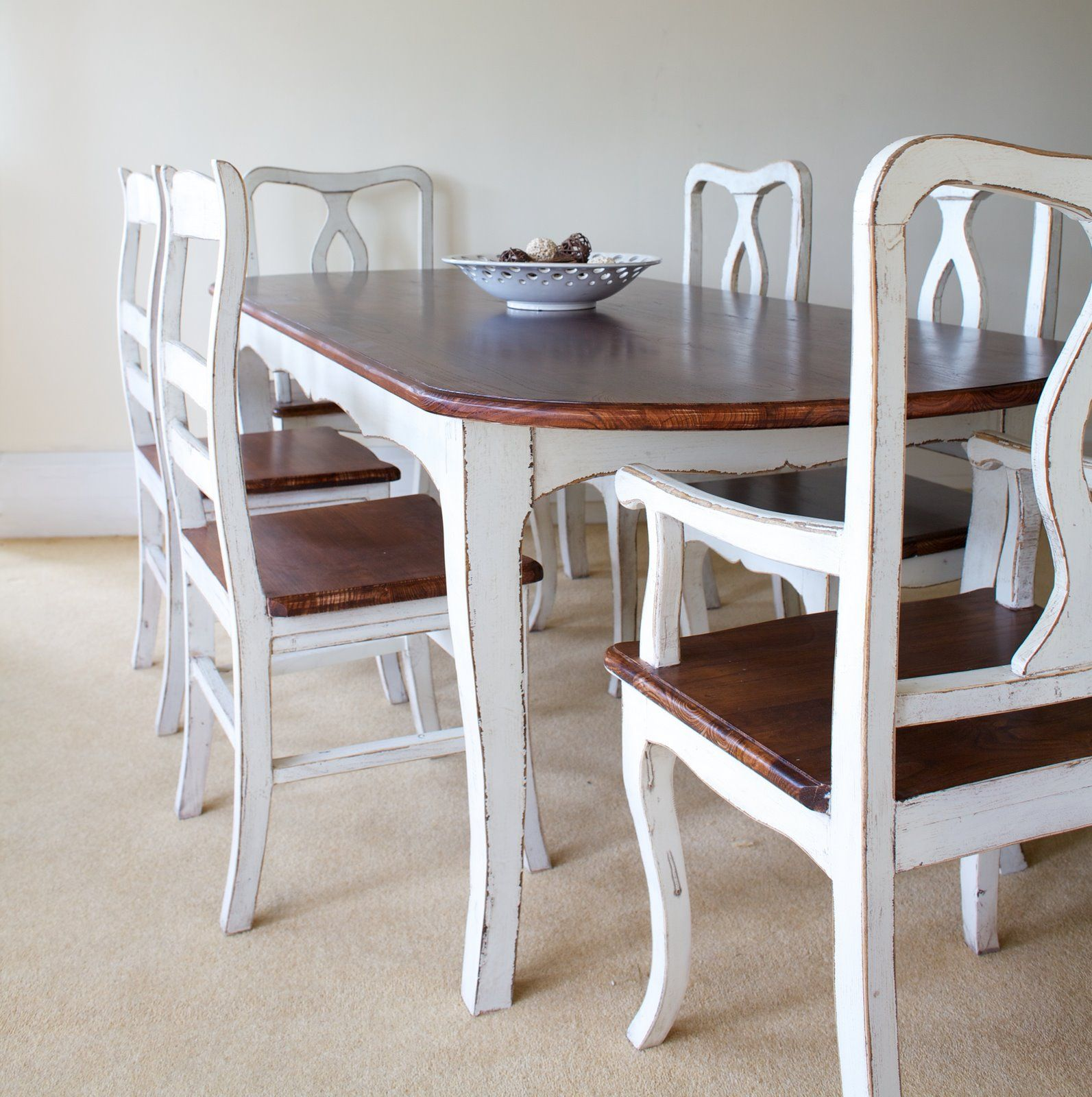 Lovely Shabby Chic Tables | Provence Shabby Chic Rounded Edge Dining Table This  French Shabby Chic .