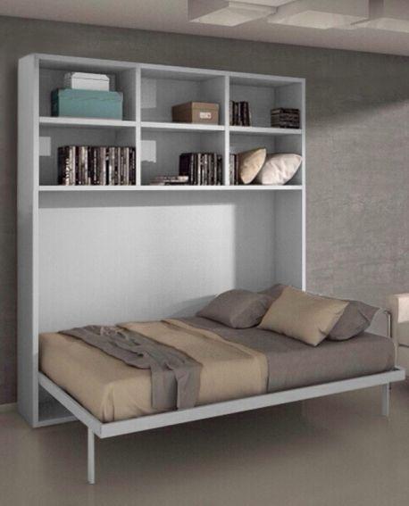 armoire lit escamotable horizontale 140 x 200 et etageres pieds a retournement automatique joy