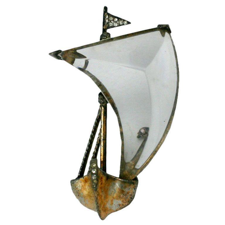 Trifari Jelly Belly Sailboat Brooch | 1stdibs.com