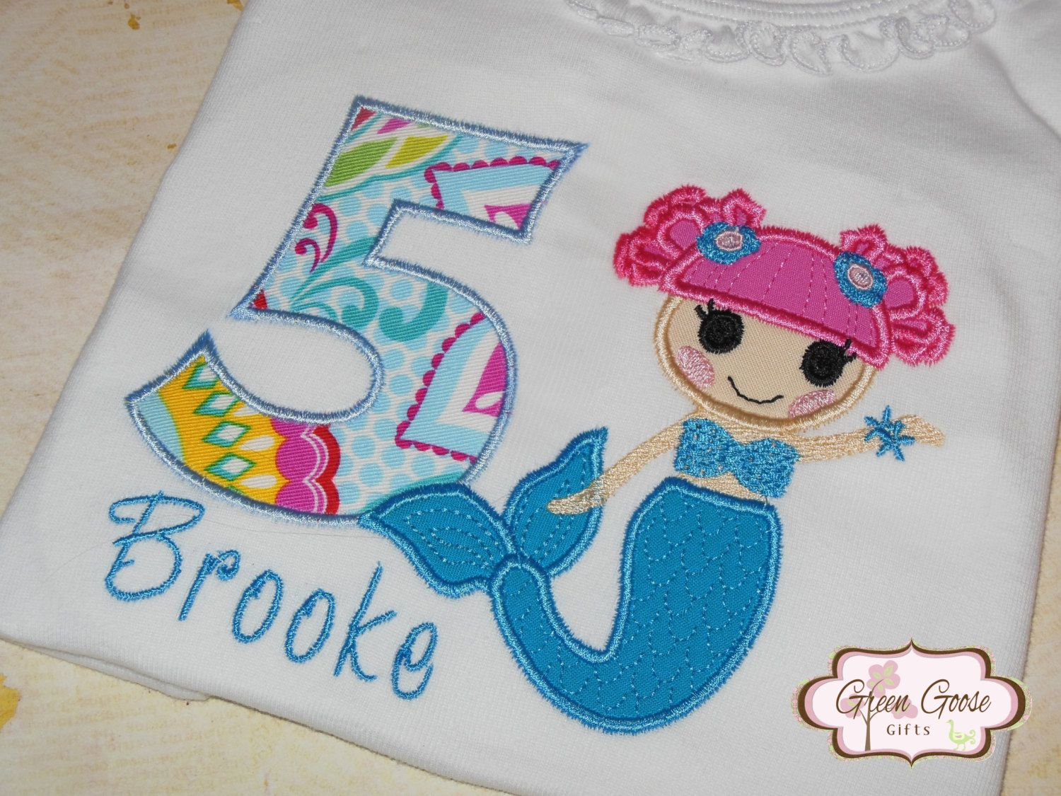 Lalaloopsy Themed Mermaid Applique Embroidered Birthday Onesie or ...