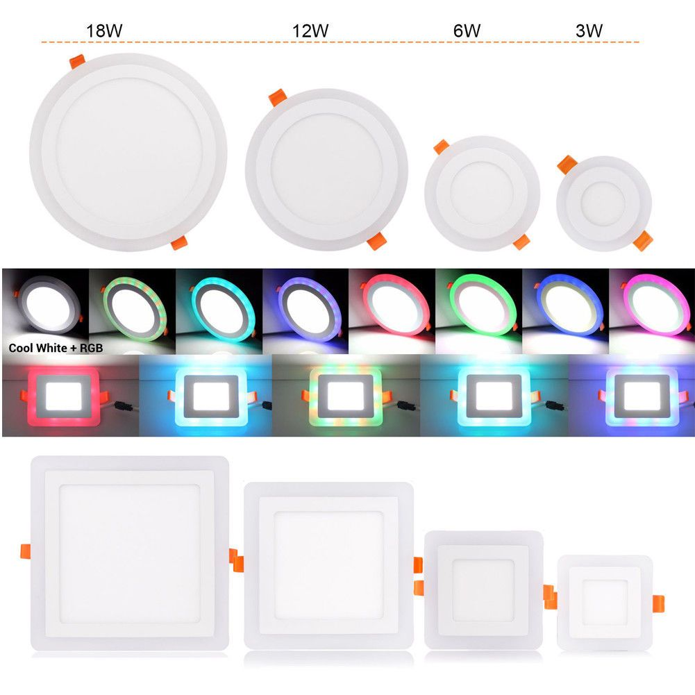 1/2/5X White RGB Dual Color LED Ceiling Light Recessed Panel Downlight Spot Lamp