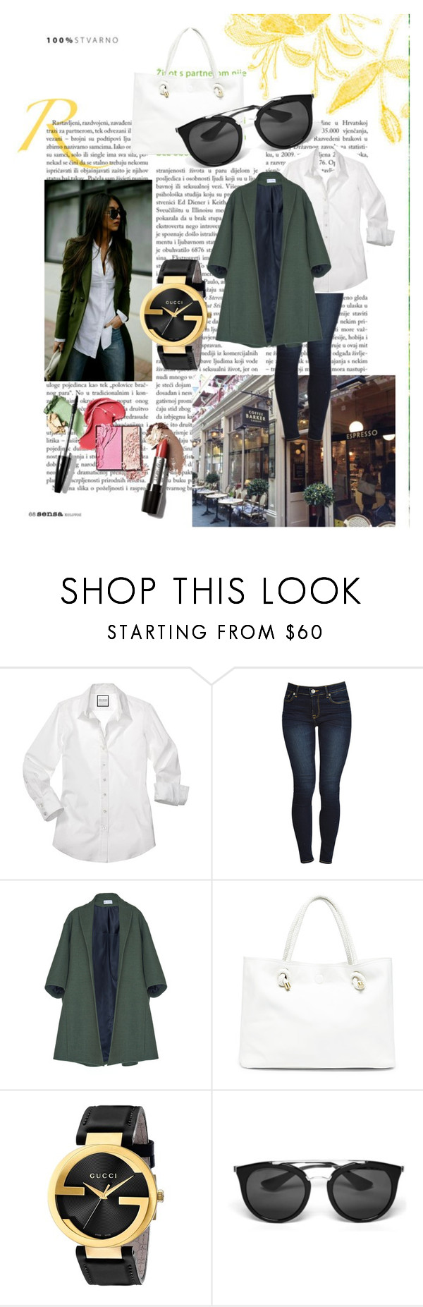 """""""Green coat"""" by helena-cy ❤ liked on Polyvore featuring Barker, MSGM, Sole Society, Gucci and Prada"""