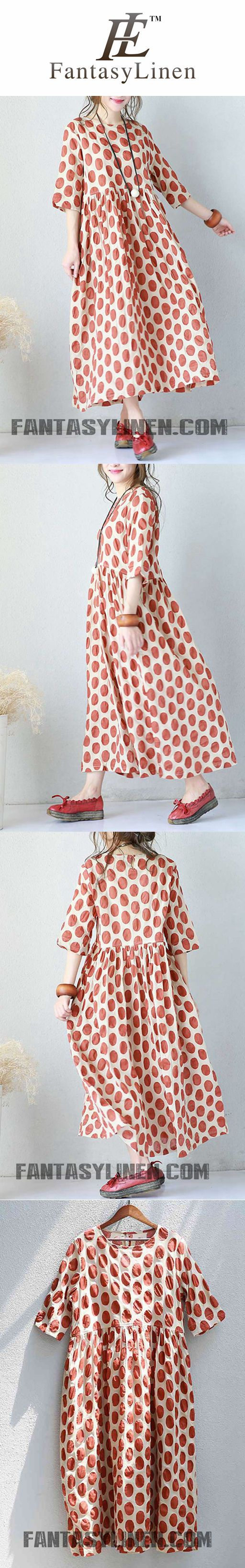 def982f9faf ART COTTON BIG POINTS WOMEN DRESSES SUMMER LOOSE DRESSES FOR WOMEN Q670
