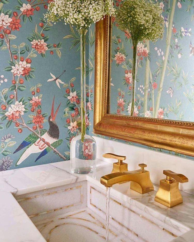 Pretty Powder Room Schumacher Brighton Pavilion Wallpaper Milesredd Powderroom Gildeddetails Shabby Chic Bathroom Bathroom Wallpaper Chinoiserie Wallpaper
