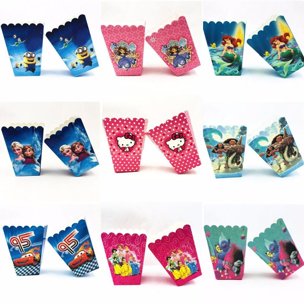 6pcs/set Mickey Minnie Trolls Moana Frozen Party Supplies Popcorn Box Baby  Shower Birthday Party