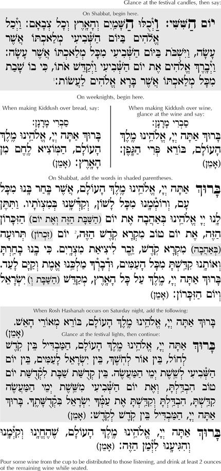 The Hebrew and English text of the Rosh Hashanah kiddush