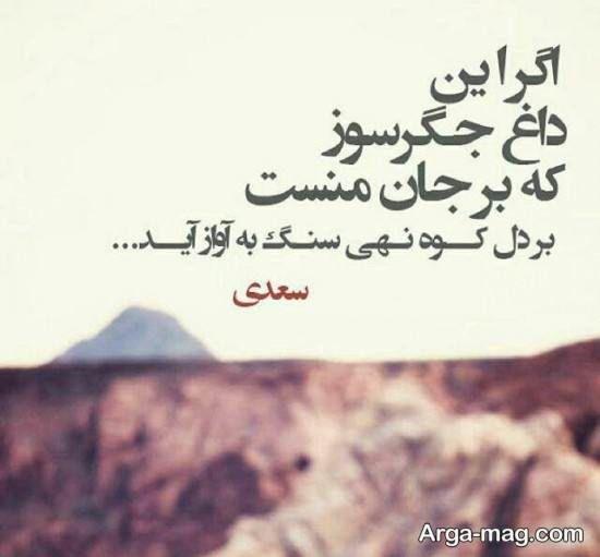 عکس نوشته عاشقانه از سعدی Persian Quotes Text Pictures Farsi Poem
