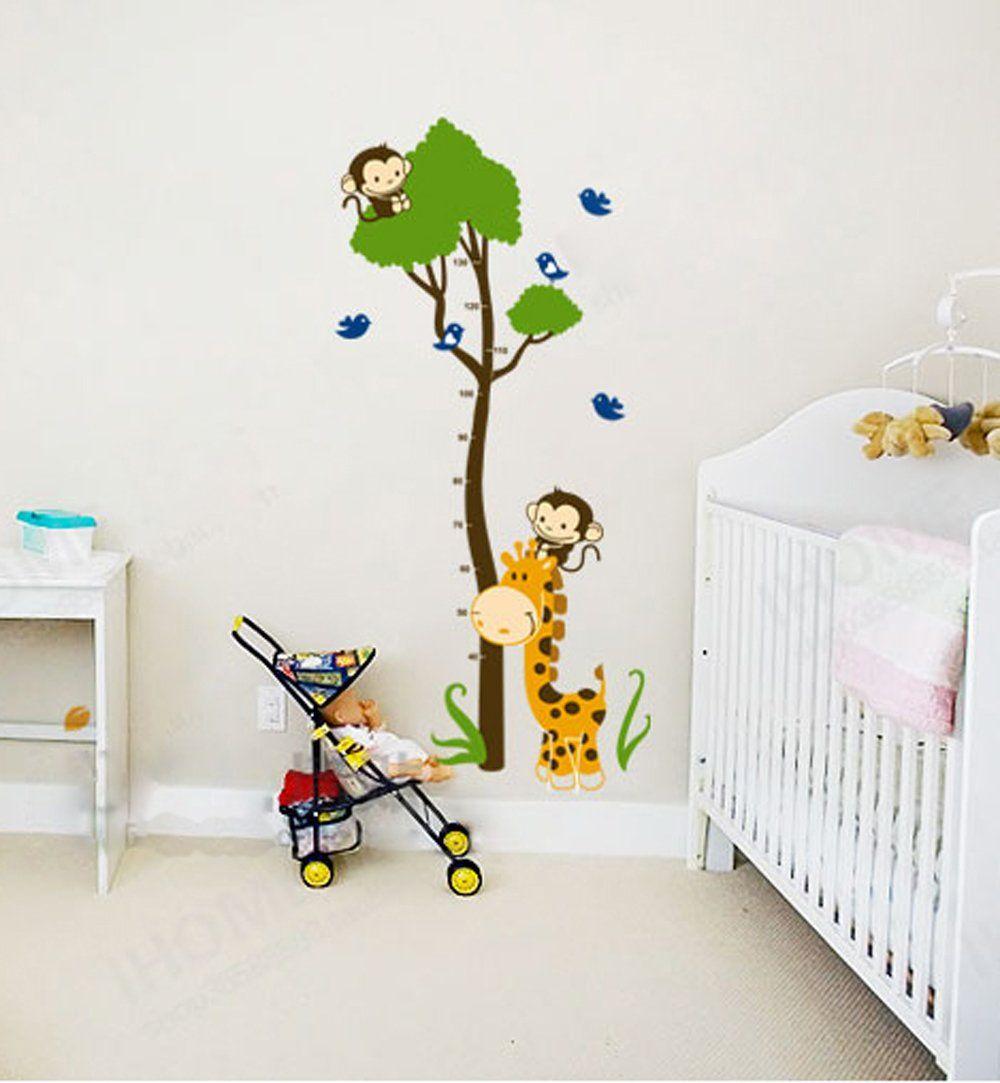 Wandbilder Kinderzimmer ufengke grünen baum niedlichen affen giraffe vögel messlatten