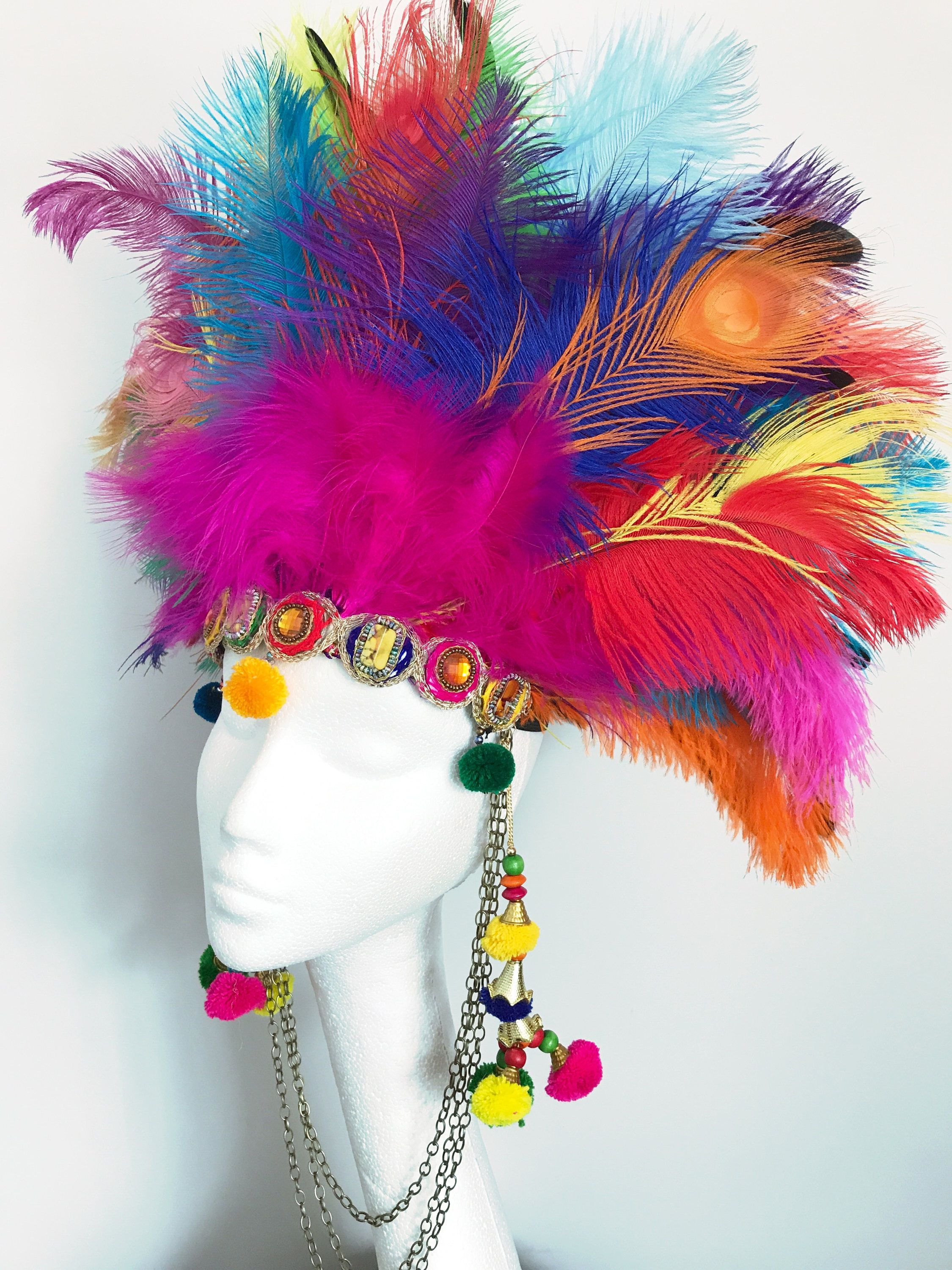 3e4fa839322 Multicoloured peacocj feather festival headdress