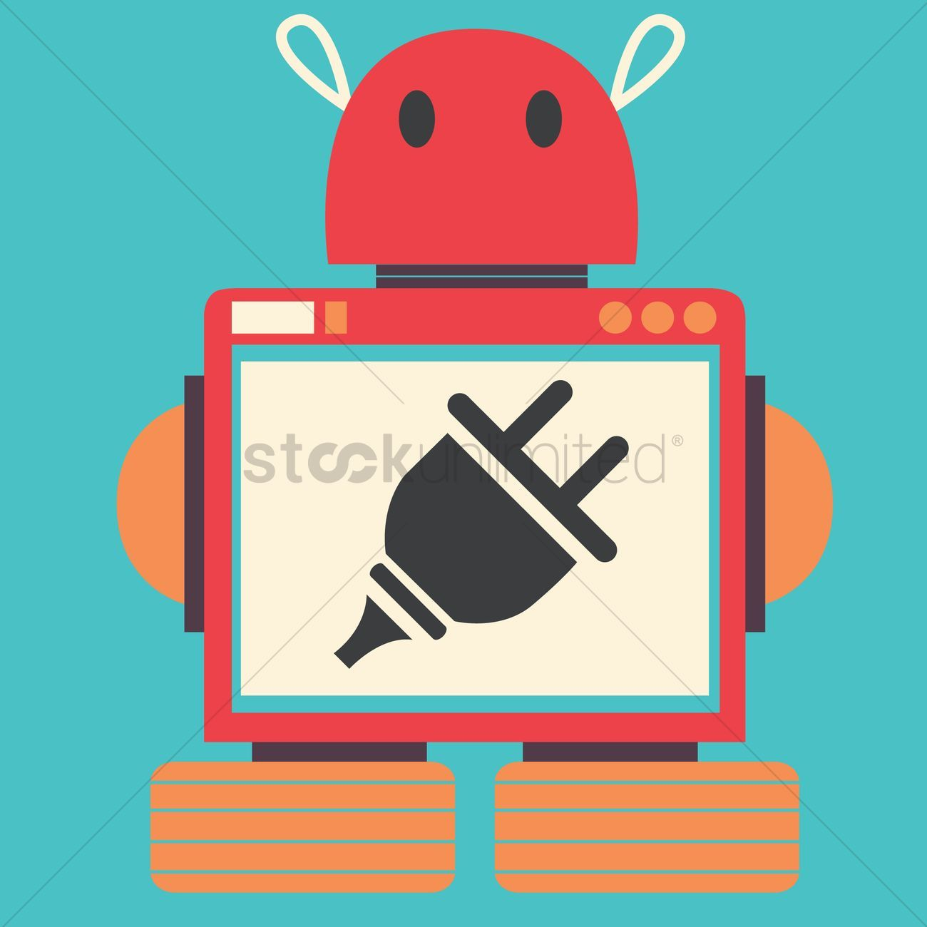 Robot with plug stock vector
