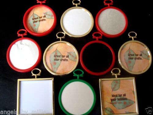 10 lot christmas ornament frames cross stitch craft gold red green round square ebay