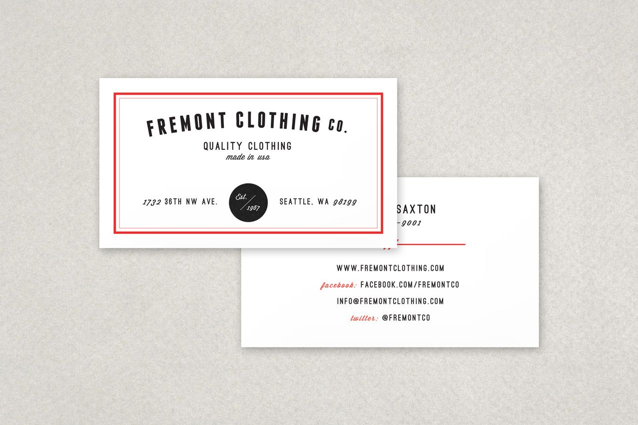Clothing Company Business Card Design | Business Card Design ...