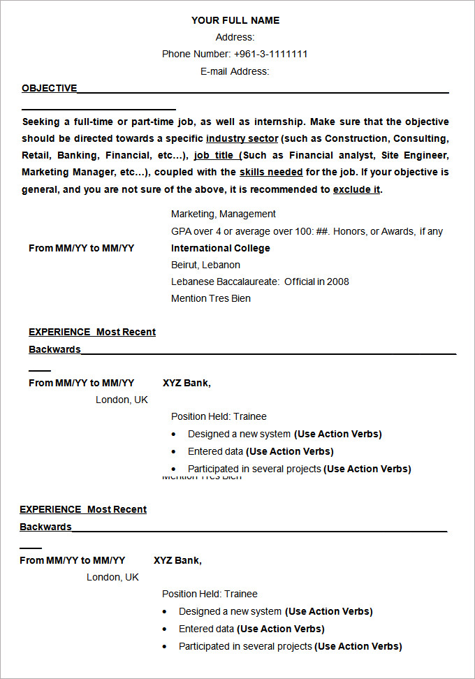 Resume Templates And Examples 6 Templates Example Templates Example Resume Template Free Resume Template Word Sample Resume Templates