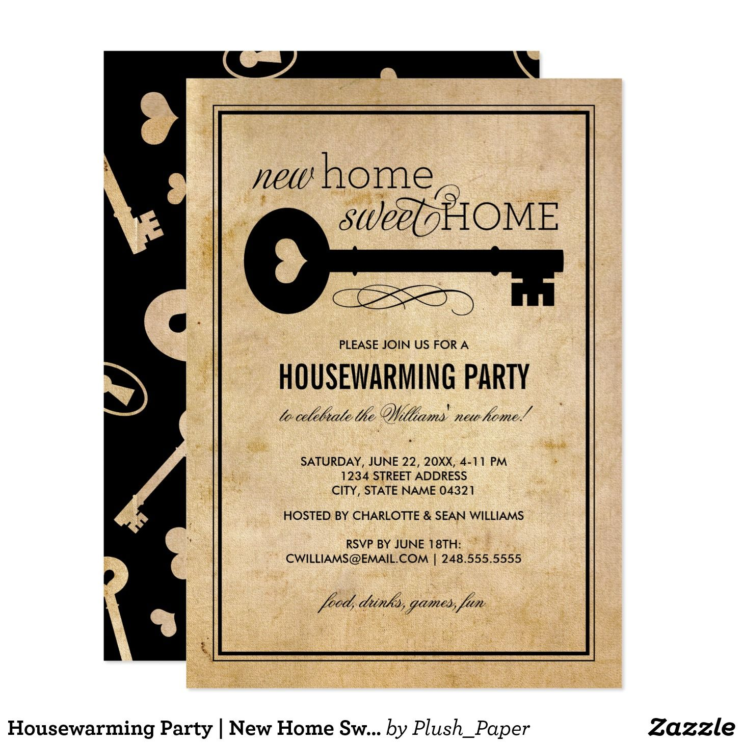 housewarming party new home sweet home invitation. Black Bedroom Furniture Sets. Home Design Ideas
