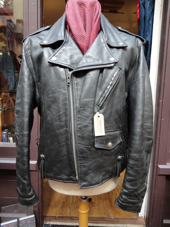 Vintage Black Leather Schott Perfecto Biker Motorcycle Jacket 46 Rockabilly Side Lacing Marlon Brando BRMC