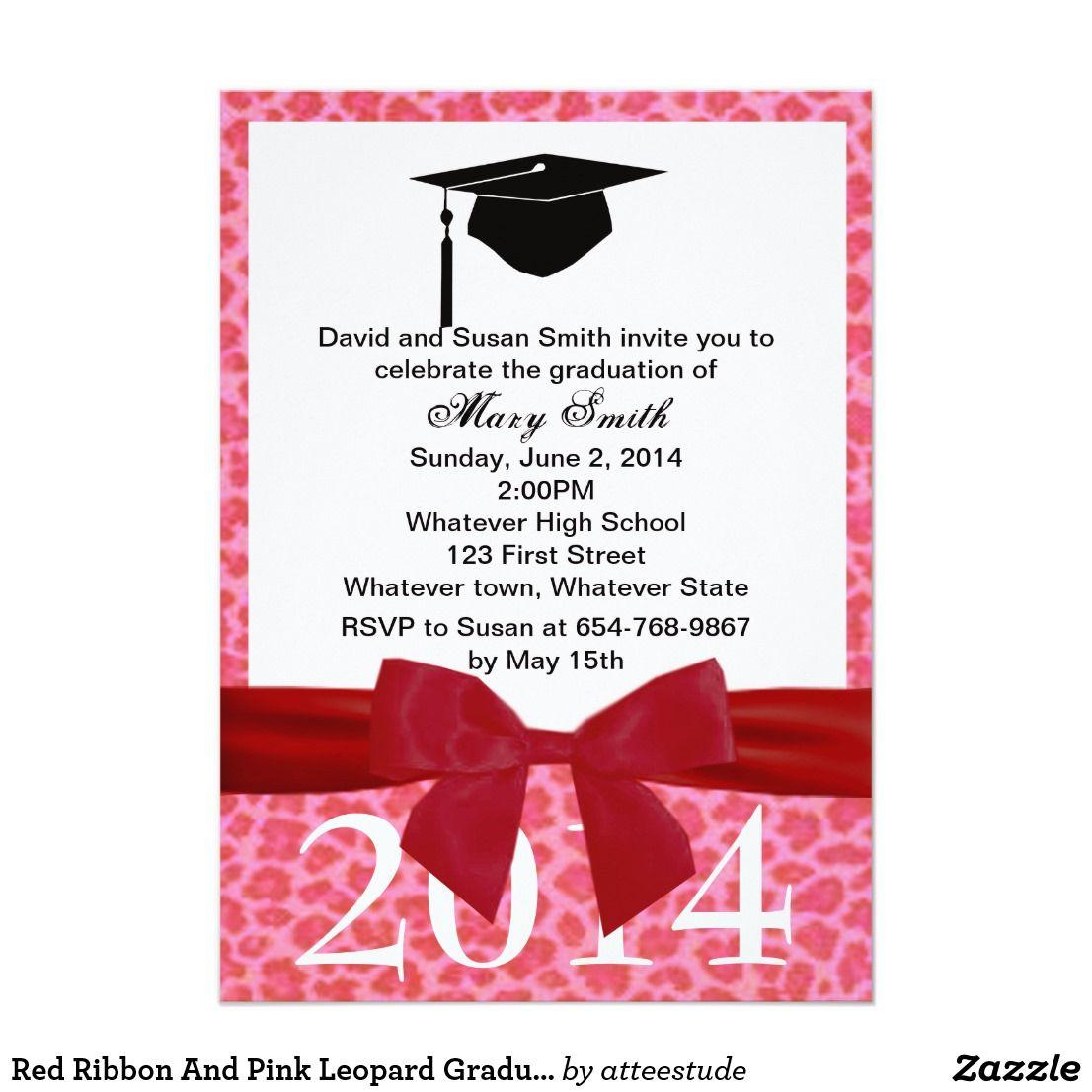 Red Ribbon And Pink Leopard Graduation Invitation
