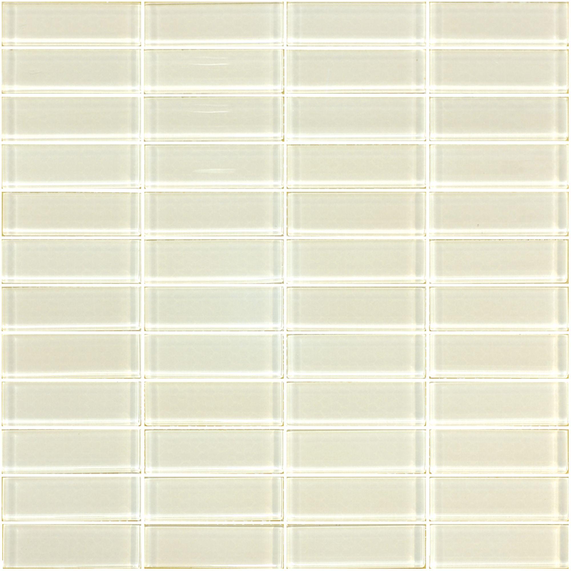Tile Gl Mosaic 22x73mm Sheet Whte 06t 1100 Bunnings Warehouse
