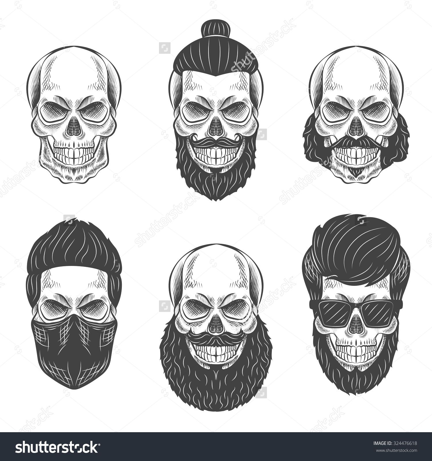 skulls with hipster hair and beards