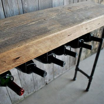 3 Ft Reclaimed Wood Wine Bar And Rack/Console Table With Pipe Legs And Thick