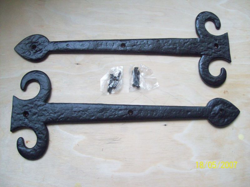Pair Of Black Antique Iron Gothic Tudor Dummy Hinge Front Antique Iron Antiques Iron