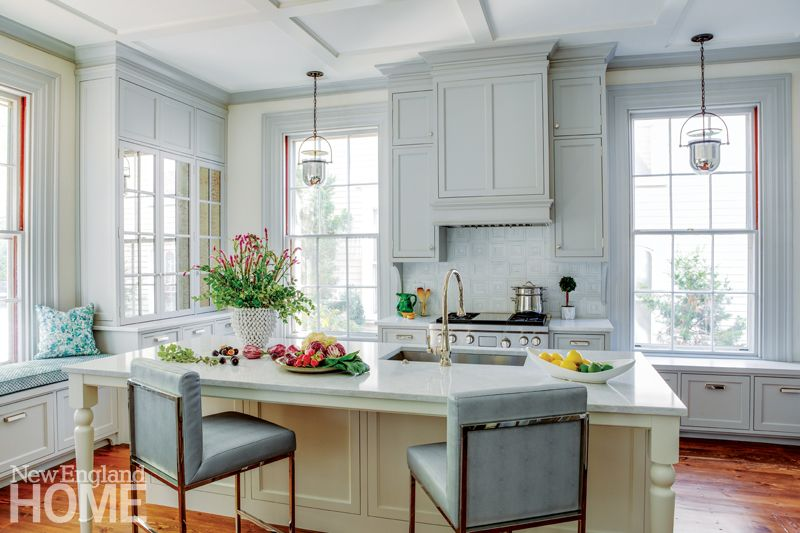 A Colorful Greek Revival In Providence Grey Kitchen Cabinets House And Home Magazine Mirrored Kitchen Cabinet