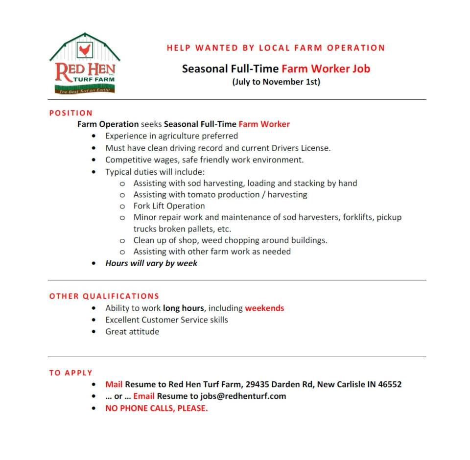 Help Wanted By New Carlisle Indiana Farm Operation Red Hen Turf Farm Seasonal Full Time Farm Worker Job July To Novem Help Wanted Top Soil Erosion Control