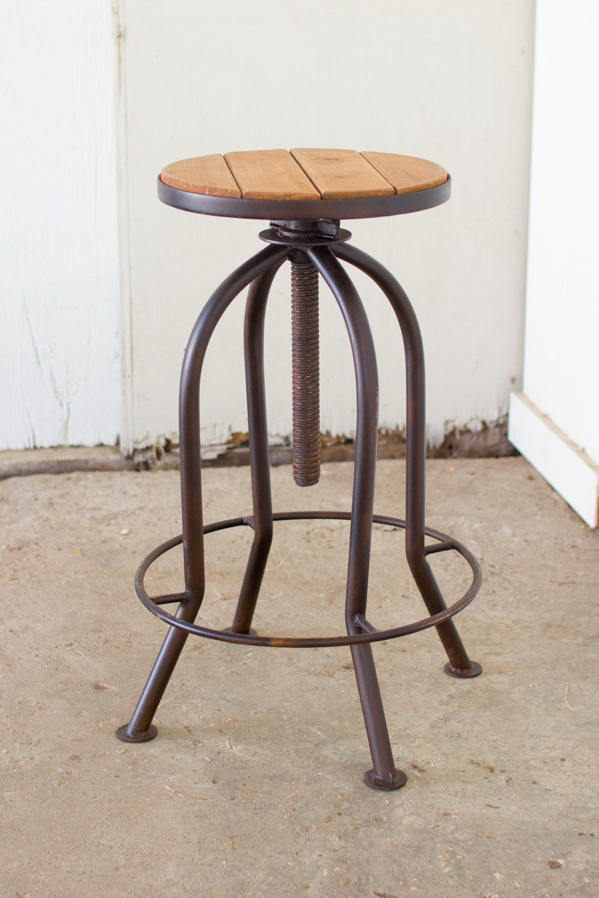 Adjustable Bar Stool With Recycled Wood Rustic Finish