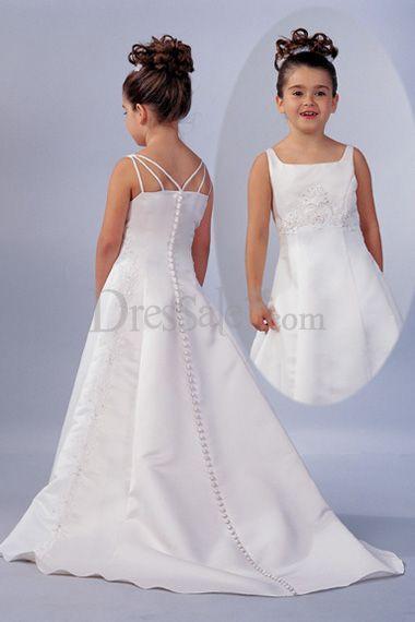 Square Neckline Floor Length Satin Made Flower Girl Dress