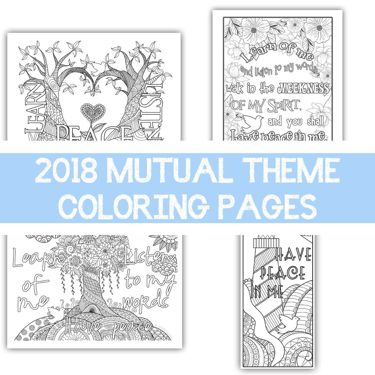 Package of all four 2018 Mutual Theme Coloring Pages ...