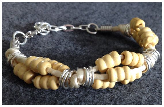 Wooden Bead, Satin Cord, and Silver Chain  Bracelet on Etsy