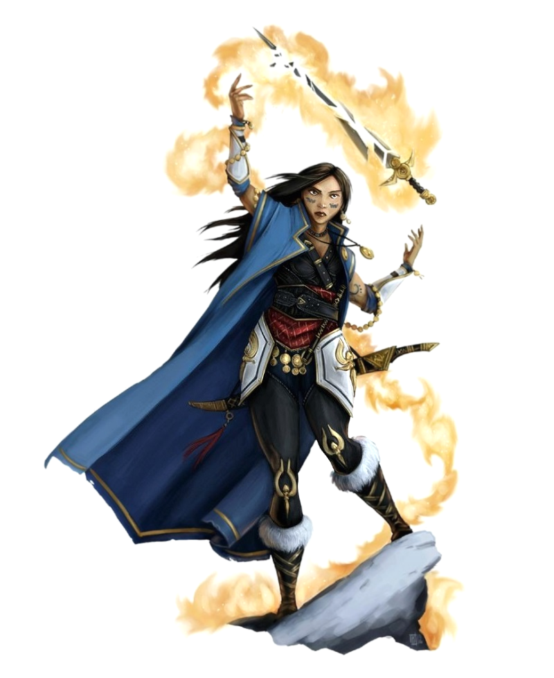 Female Human Cleric of Sarenrae Casting Spell - Pathfinder