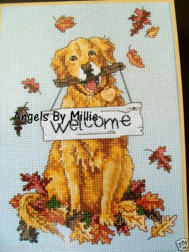 Dimensions Welcome Dog Golden Retriever Autumn Sunset Cross Stitch